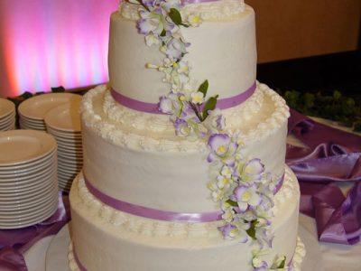 4 Tier Bc Lavander Orcids Cake