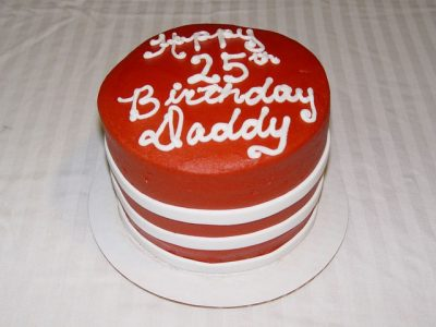6 Inch Red And White Cake