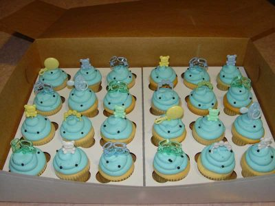 Baby Shower Blue And Black Cupcakes