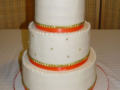 Coral Orange Wedding Cake