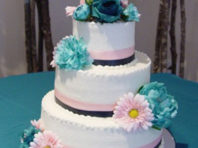 Pink And Teal Wedding Cake