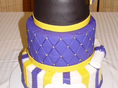Purple Gold Grad Cake