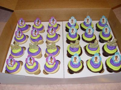 Purple Lime Green Tiana Cupcakes