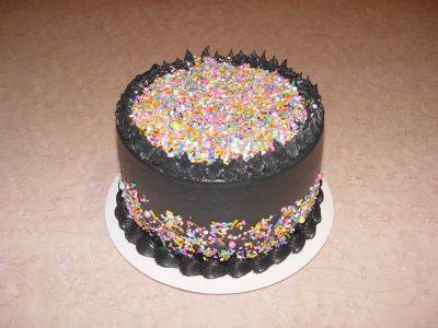 Black Frosting Sprinkles Cake