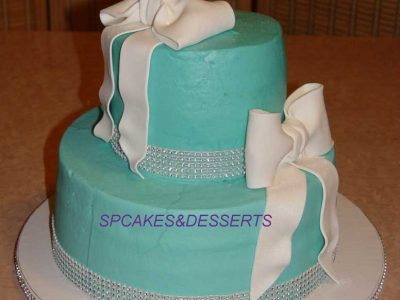 Blue Bow Wedding Cake