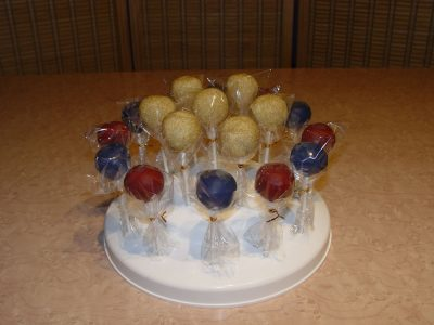 Gold Blue Red Cake Pops