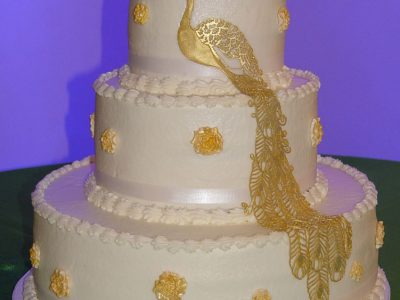 Gold Peacock Cake
