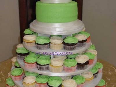 Green Tiered And Cupcake Cake