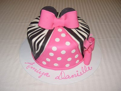 Pink Black Stripes Cake
