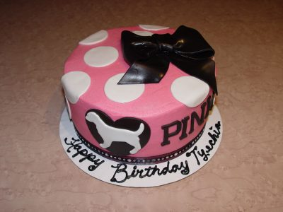 Pink Dog Poka Dot Cake