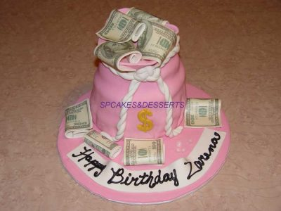 Pink Money Cake