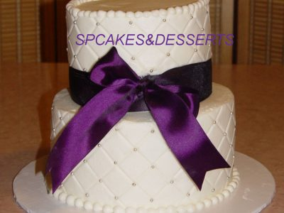 Purple Ribbon Wedding Cake