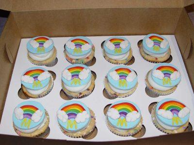 Rainbow M Cupcakes