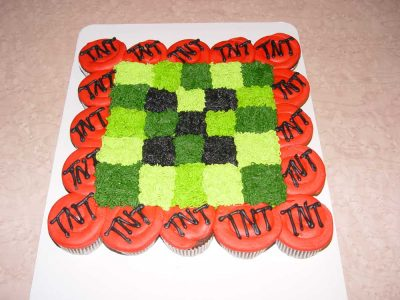 Tnt Creeper Cupcakes