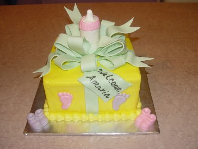 Yellow Baby Shower Cake